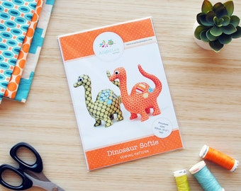 Dinosaur Pattern Soft Toy HARD COPY Paper Sewing Pattern for Dinosaur Softie. How to Make Stuffed Dinosaurs. DIY by Angel Lea Designs