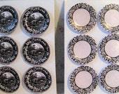 Dollhouse  Card plates, black and white plates, mini plates, Card dishes,, twelfth scale, dollhouse miniature