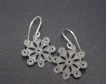 Silver Gunmetal Flower Earrings
