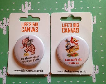 Vintage mash-up pin badge set - On Wednesdays We Wear Pink and You Can't Sit With Us (Mean Girls) (small)