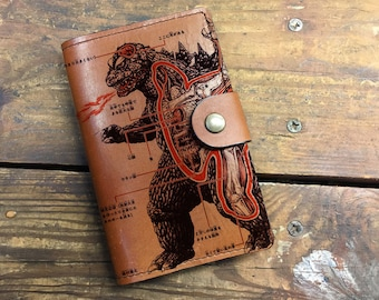 Leather Journal, Leather Sketchbook, Leather Passport cover, godzilla Journal, moleskin Journal, field notes journal, moleskin cover