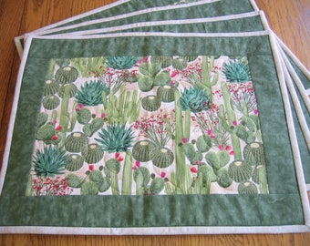Quilted Placemats in a Cactus Pattern - Set of 4