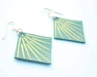 Hand Painted Leather Earrings - Antique Seafoam Green Leather with 14k Gold-Fill