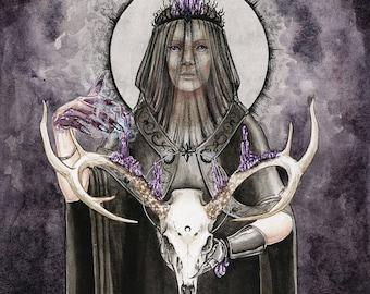 Alchemy -Original art print with silver embellishment option - Dark. Gothic, Fantasy Illustration - Red Deere Skull and Amethyst Crystals