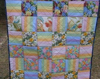 Pastel Ragged Edge Lap Quilt Clearance 40% off