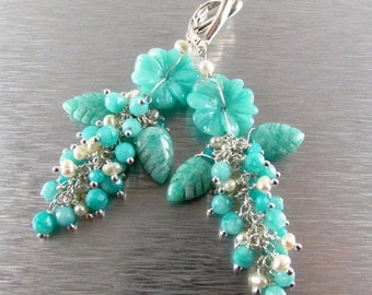 25% Off Carved Amazonite Flower and Leaves Cluster Earrings