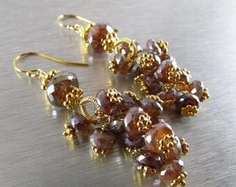 25 % OFF Mystic Brown Labradorite With Gold Cluster Earrings