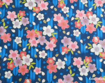 Japanese Kimono Fabric - Arrow Pattern Sakura Cherry Blossoms on Navy Blue - Half Yard (nu170418)