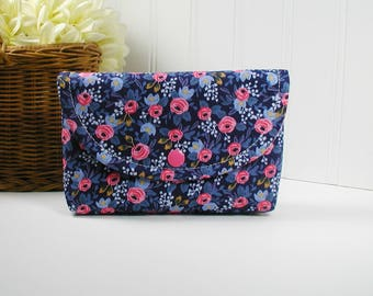 Snap Pouch, Large Snap Pouch, Cosmetic Pouch ... Les Fleurs Rosa in Navy, Rifle Paper Co