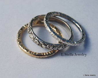 Three Ring Stackable Set Sterling Flower Band Hammered Rings leaves all around Vintage look
