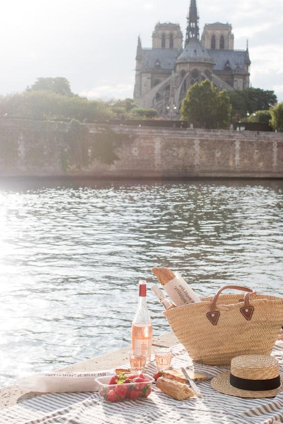 Paris Photography, Paris Picnic on The Seine, Parisian Picnic, Summer in France, Parisian, Neutral, Paris Wall Art, Sunset, Architecture