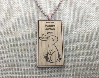 Easter Bunny Necklace - Easter Basket Gift - Laser Engraved Necklace - Basket Stuffer - Personalized Gift