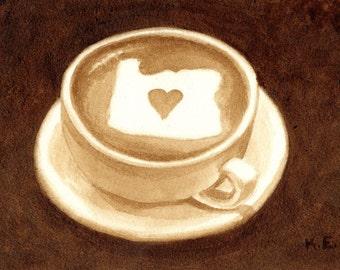 coffee art, Oregon Latte, painted using only coffee, latte art, latte, heart, espresso, love