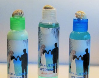 Beach Themed Wedding or Bridal Shower Favor - Personalized Favors - Shower Gel, Guest Bag Favors, Bachelorette Party, Wedding Sea Shells