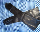 Black Leather Gloves French Leather Gloves Ladies Long Leather Gloves Never Been Worn Petite Leather Gloves Mid Century Gloves XS