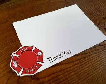 Fire Truck Party - Set of 8 Fire Shield Thank You Notecards by The Birthday House