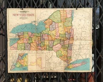 Antique Folding Cloth-Backed School Map of New York State circa 1920