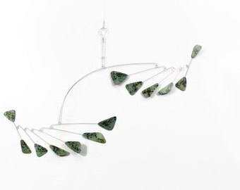 Hanging Mobile READY TO SHIP - Triangle Style - Kinetic Calder Inspired - 36w x 25t - Art Mobile for Classy Home