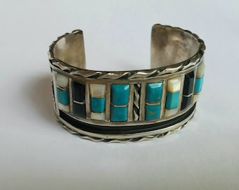 Vintage Native American Sterling Cuff Bracelet Turquoise Multi Stone 72.7 Grams Amazing Signed