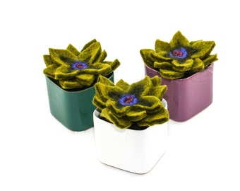 Felt Succulent - Handmade Cactus in Glazed Pot (Choose Your Color: Teal, Purple, or White)