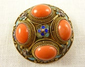 Antique Chinese Export Gilt Silver Filigree Cloisonne Enamel and Large Coral Cobochons Brooch