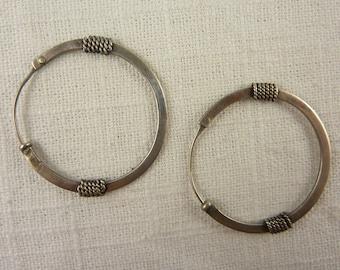 Vintage Sterling Rope Hoop Earrings