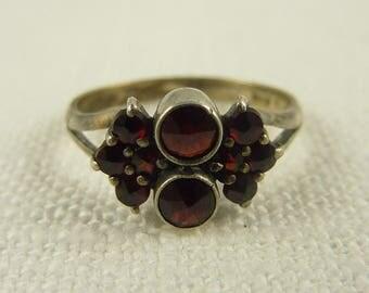 RESERVED for Krisha ========== Size 6 Antique Sterling Bohemian Rose Cut Garnet Ring