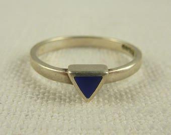Size 8 Vintage Sterling Thai Lapis Ring