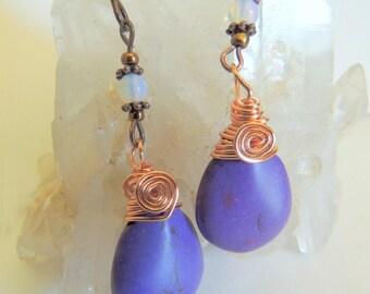 Magnesite Briolette Earring, Opalite Jewelry, Dangle Earring, Purple Gemstone, Copper Wire Wrap, Wire Wrap Jewelry, Handcrafted Jewelry