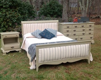 Full Size Bed, Custom upholstered headboard and footboard, dresser and nightstand, vintage restored Three Piece Set!