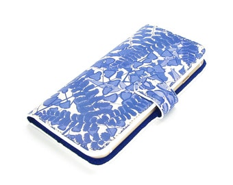 Leather iPhone 7 case, Galaxy S6 Case, iPhone 6s Case, iPhone 7 Plus Case, iPhone 5s Case -Blue And White Ferns