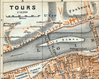 Antique Map of Tours, France - 1905 Vintage City Map - Old City Map
