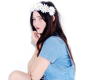 OMG HALF OFF out of stock Daisy Headband - adjustable headband, romantic statement headpiece, flower crown, floral crown, white daisy, weddi