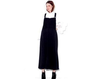 90s BLACK JERSEY KNIT Overall Dress xs small medium // overalls jumper dress maxi dress 90s clothing 90s grunge goth minimalist
