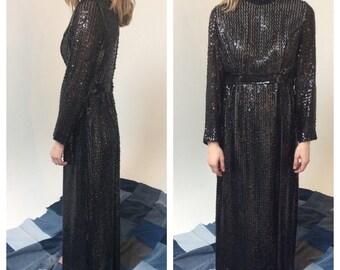 Vinatge black sequins maxi dress. AMAZING. 1960s Size Medium