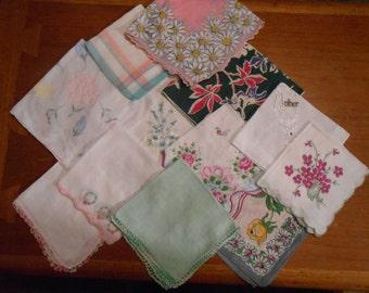One dozen beautiful vintage hankies Pink, Grey, Green, Mother, flowers
