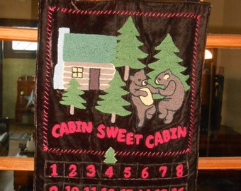 Cabin Sweet Cabin velvet and chenille bear wall hanging