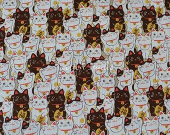 Japanese Fabric Cat Manekineko Khaki by the Half Yard
