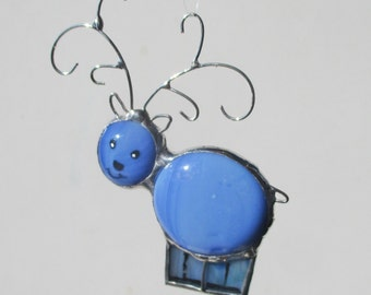 Little Blue Reindeer Stained Glass Christmas Ornament or  Home Decor Suncatcher