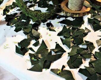 Magnolia confetti-Table confetti-Preserved magnolia leaf pieces-5 cups-Wedding confetti-Flower girl leaves-Potpourri