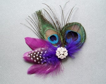 Wedding Hair Piece Purple Peacock Feather Hair Clip for a WEDDING Bridal Accessories bridesmaid for a bride bridesmaids hair clips combs