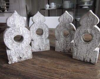 Set of four vintage wooden architectural brackets finials gingerbread