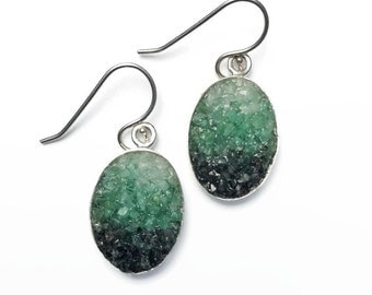 Emerald Micro Mosaic Earrings