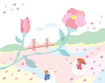 Love in Full Bloom Art Print - Cherry Blossom, Bear, San Francisco, Golden Gate Bridge, California, Sakura