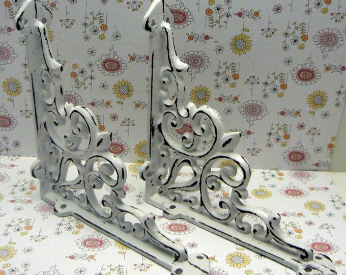 Shelf Bracket Cast Iron Brace Ornate Fleur de lis FDL Shabby Chic White 1 Pair DIY Home Improvement