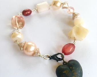 One of a kind wired Pink Opals, Pearls, stone bead, vintage bead, bell flower beads and Crystal with Puffy Heart Bracelet