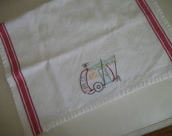Vintage Travel Trailer Dish Towel ~ Canned Ham Trailer Towel ~ Embroidered Towel ~ Kitchen Towel ~ Dish Towel ~ Tea Towel
