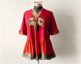 Red Tribal T-Shirt Boho Women's Top Up Cycled Clothing Art To Wear Shirt Rustic Gypsy Clothes Eco Conscious Moose Tee Summer Top L 'MARNIE