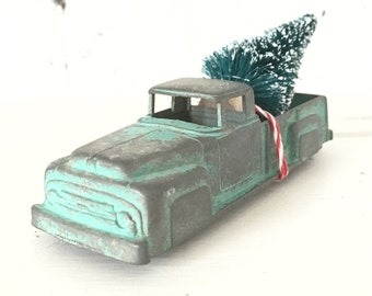 Vintage Turquoise Blue Midgetoy Truck Toy with Bottle Brush Tree, Christmas Tree Truck