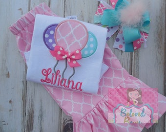 Birthday Balloons Outfit, First Birthday Outfit, Birthday Ruffle Pants, Birthday Hair Bow